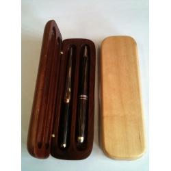 Double Wooden Pen Box
